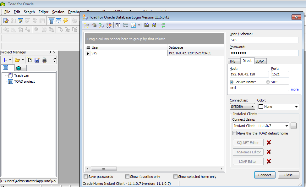 accessing oracle with instant client and toad.