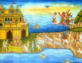 Rama and his army cross their miraculous bridge to Lanka, supported by Vibhisana, brother to Ravana, who flies above them in the sky with his four companions.