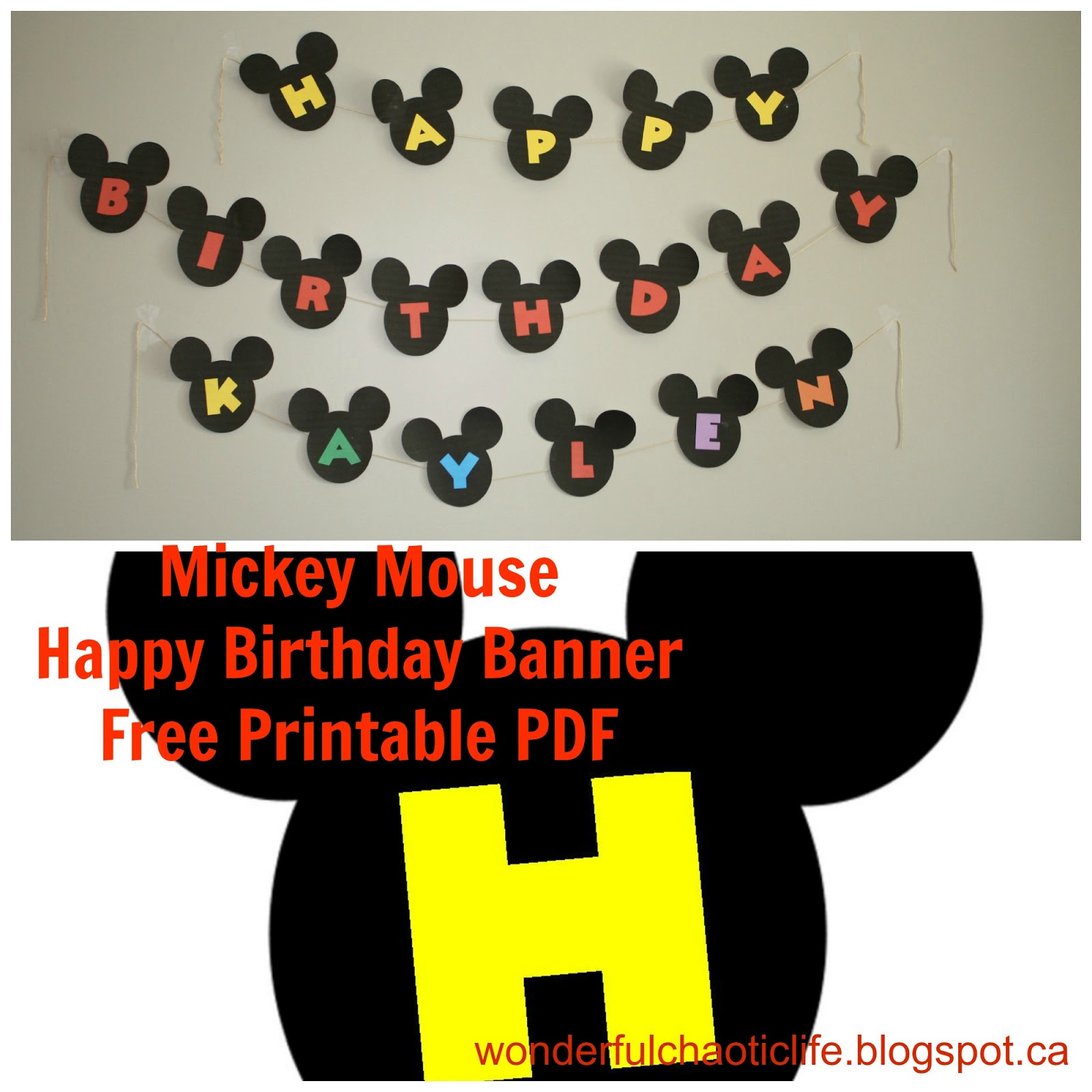 for the happy birthday banner doesnt include name click this link to download the pdf for the mickey mouse
