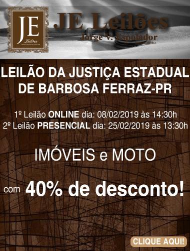 LEILÃO DE IMÓVEIS E MOTO EM BARBOSA FERRAZ