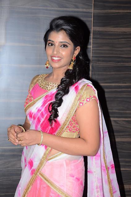 Syamala looks cute and beautiful in PIATRENDS.COM Saree at Jyothi Lakshmi Audio Launch