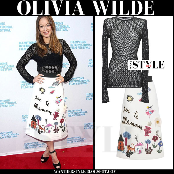 Olivia Palermo in black sheer top and white embroidered midi skirt dolce & gabbana what she wore red carpet