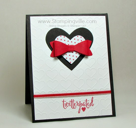 Twitterpated heart embossed card with bow (created using Bow Builder Punch. #stampinup #cardmaking #papercrafts