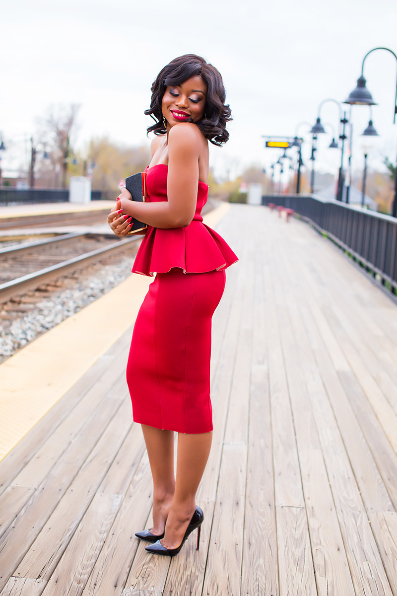 what to wear to holiday party, red peplum dress, www.jadore-fashion.com