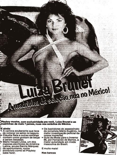 Propaganda da Revista Playboy com a atriz e modelo Luíza Brunet na capa. Veiculada em 1986.