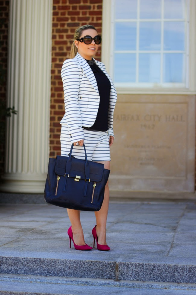 striped shorts suit set