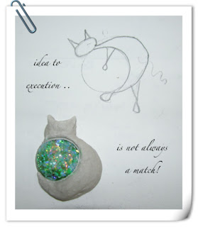 Snuggly Cat Beaded Bezel Clay Pendant