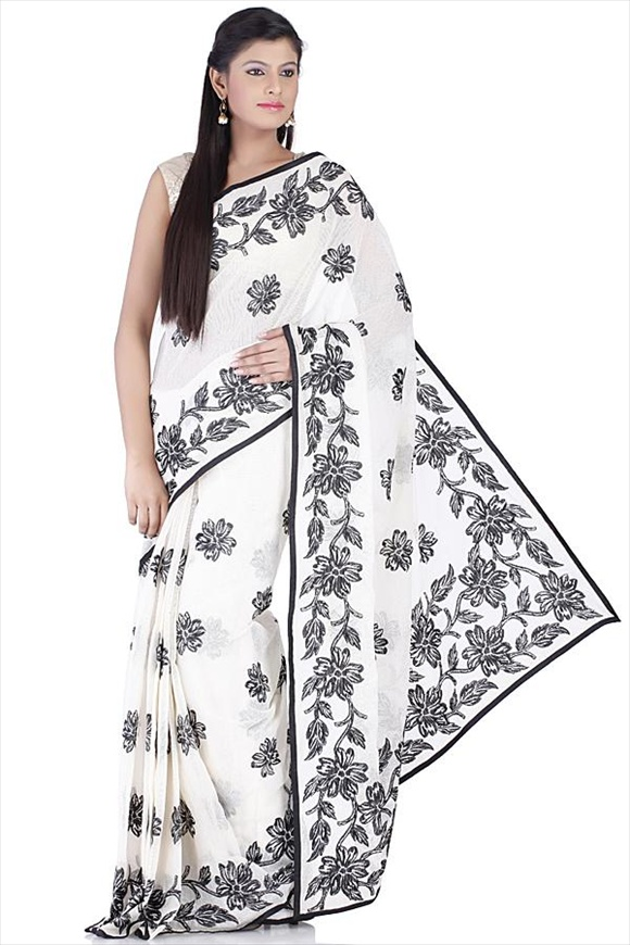 new White Cotton Net Saree