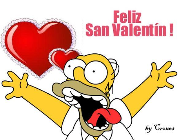 Homero Simpson deseando Feliz San Valentín