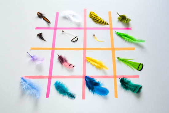 feathers collection ,color inspiration, masking tape display