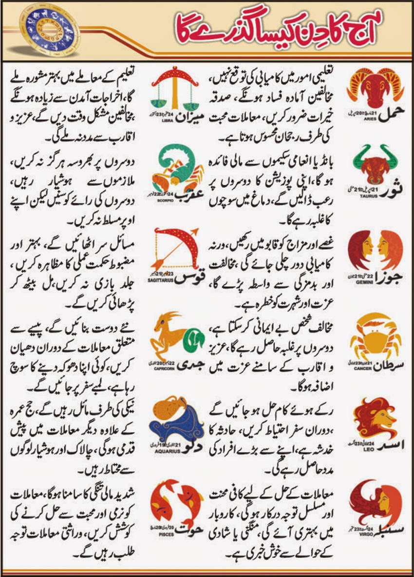 Check Horoscope in Urdu 27 February 2015