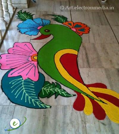 Colorful Parrot design in Rangoli Art