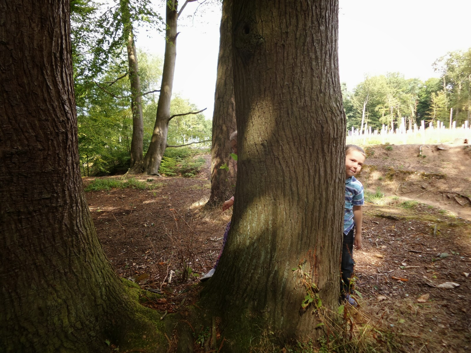 Top Ender and Big Boy hiding behind a Tree