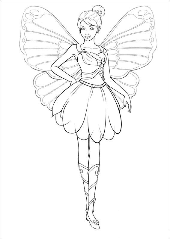 barbie mariposa coloring pages free - photo#6