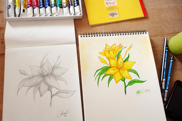 "Art Li and Stuff - ""Flower"" - Pencil and Watercolour"