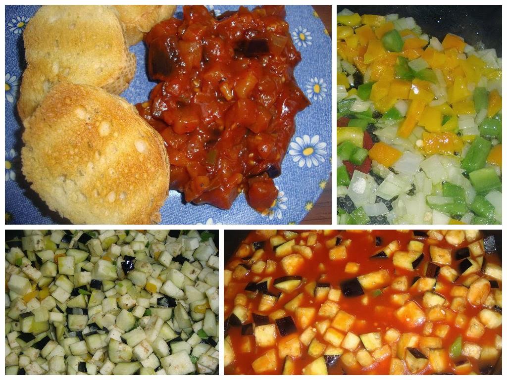 Berenjenas con tomate y pimientos