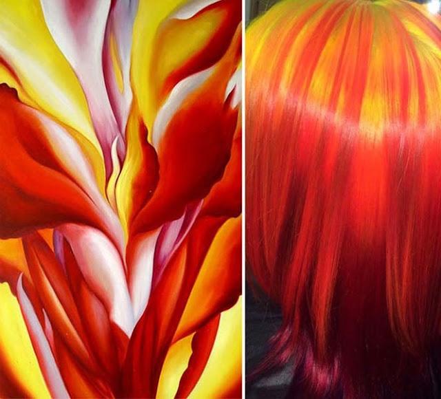pewarnaan rambut seperti karya seni lukis terkenal