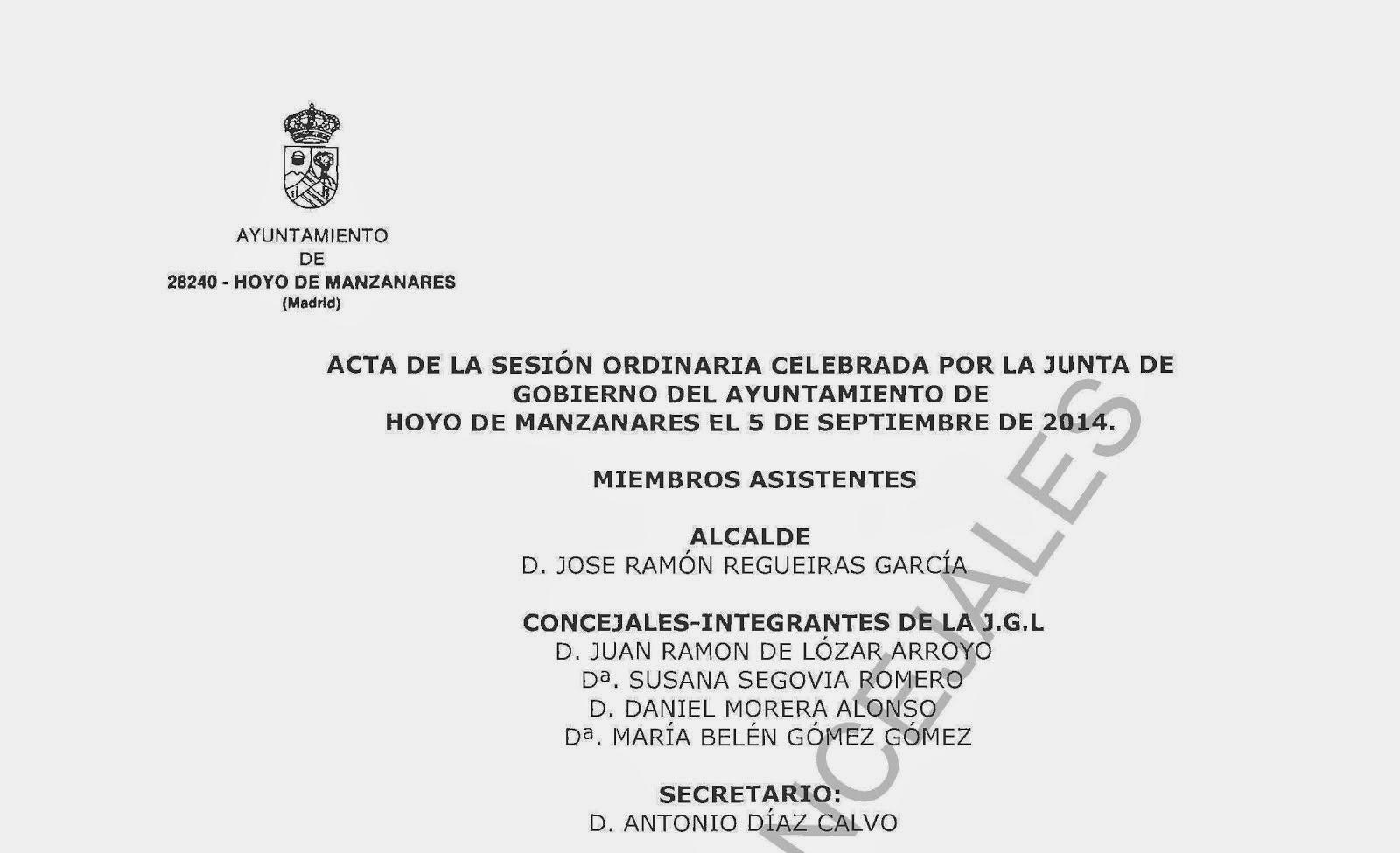 Acta Junta Gobierno Local Hoyo 9-Septiembre-2014
