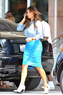 Kim Kardashian blue skirt