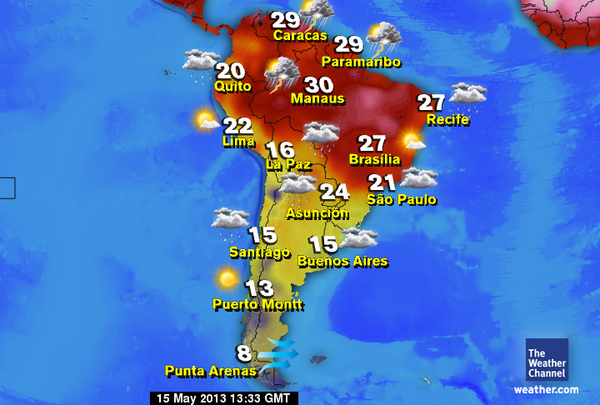 English Colsam What's The Weather Like In South American Cities 7�: Weather Map Of South America At Codeve.org