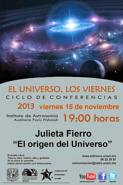 """Conferencia """"El origen del Universo"""" de Julieta Fierro"""