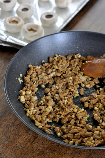 Filling for Stuffed Mushrooms with Sausage and Crab Meat | Taste As You Go #JDCrumbles