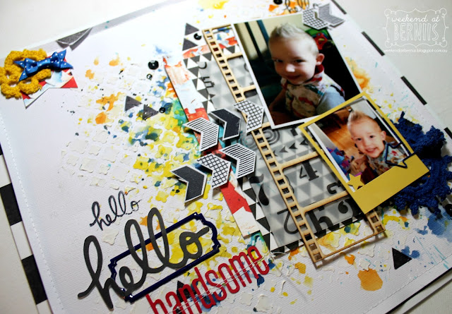 Hello handsome layout by Bernii Miller for Scrap Africa  Sketch Challenge #52.