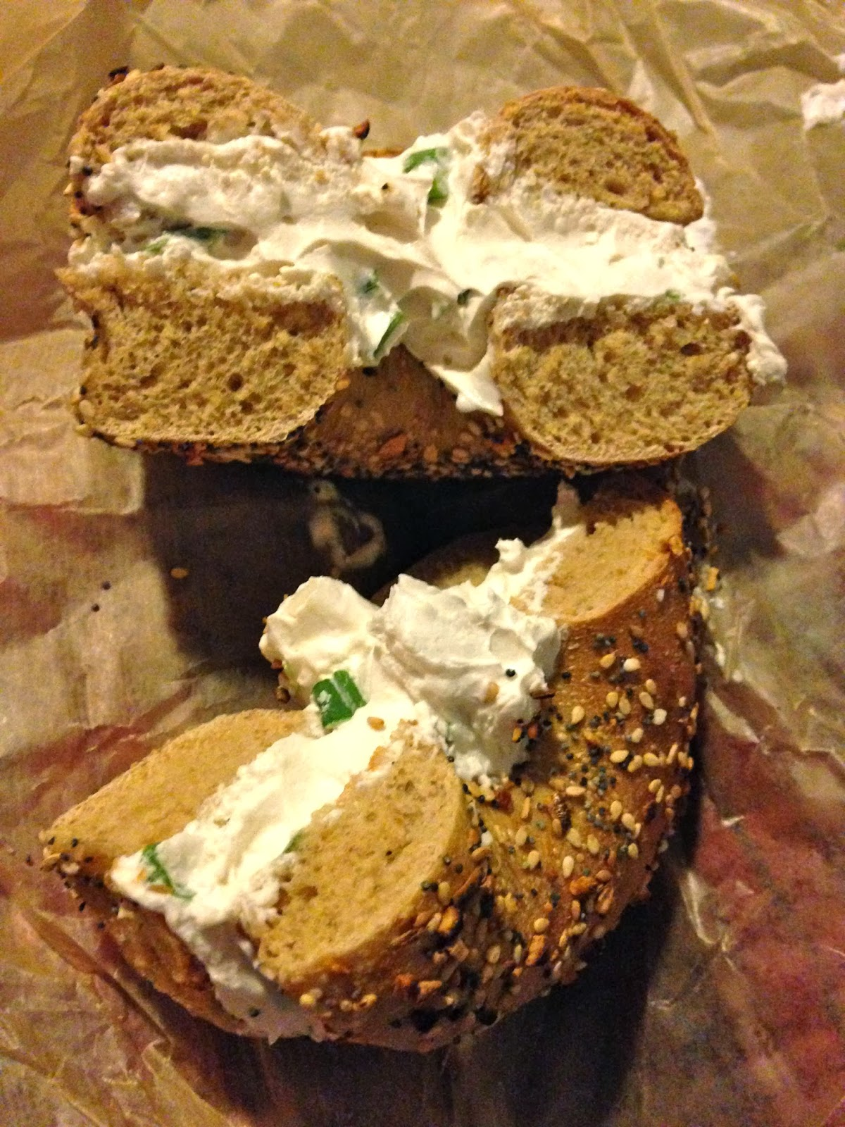 Whole Wheat Everything Bagel with Tofutti Scallion Cream Cheese H&H Midtown Bagels East Vegan Veega