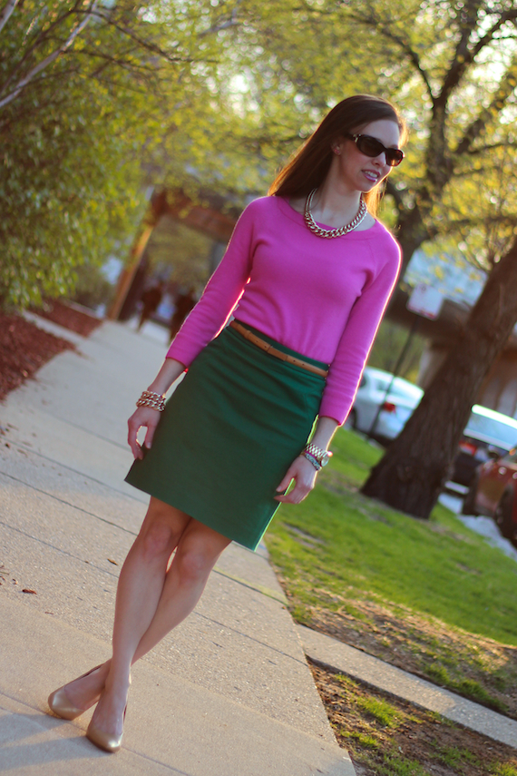 Pink Sweater Green Skirt | StyleSidebar