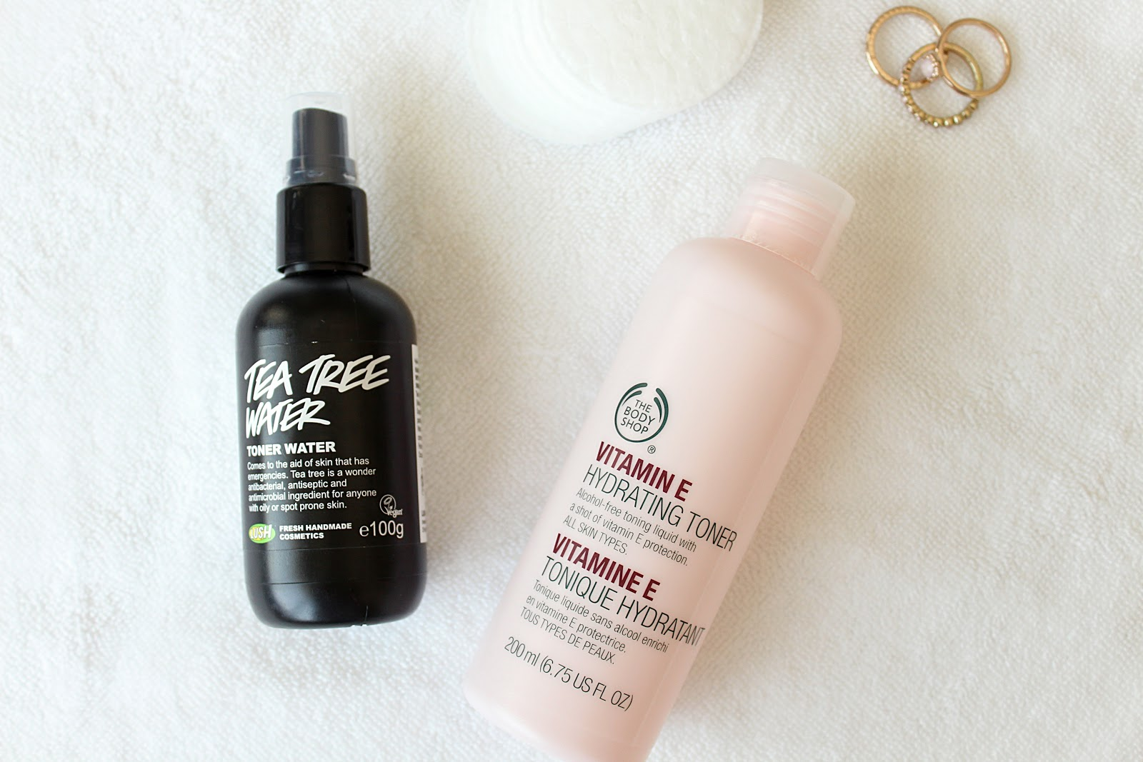 The Body Shop Vitamin E Toner, Lush Tea Tree Toner Water