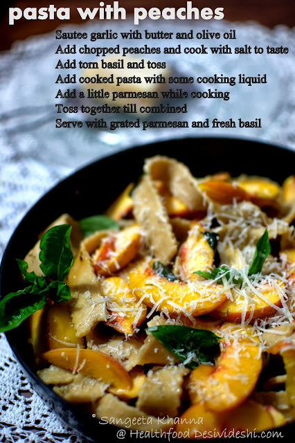 picture recipe   a pasta with peaches and parmesan