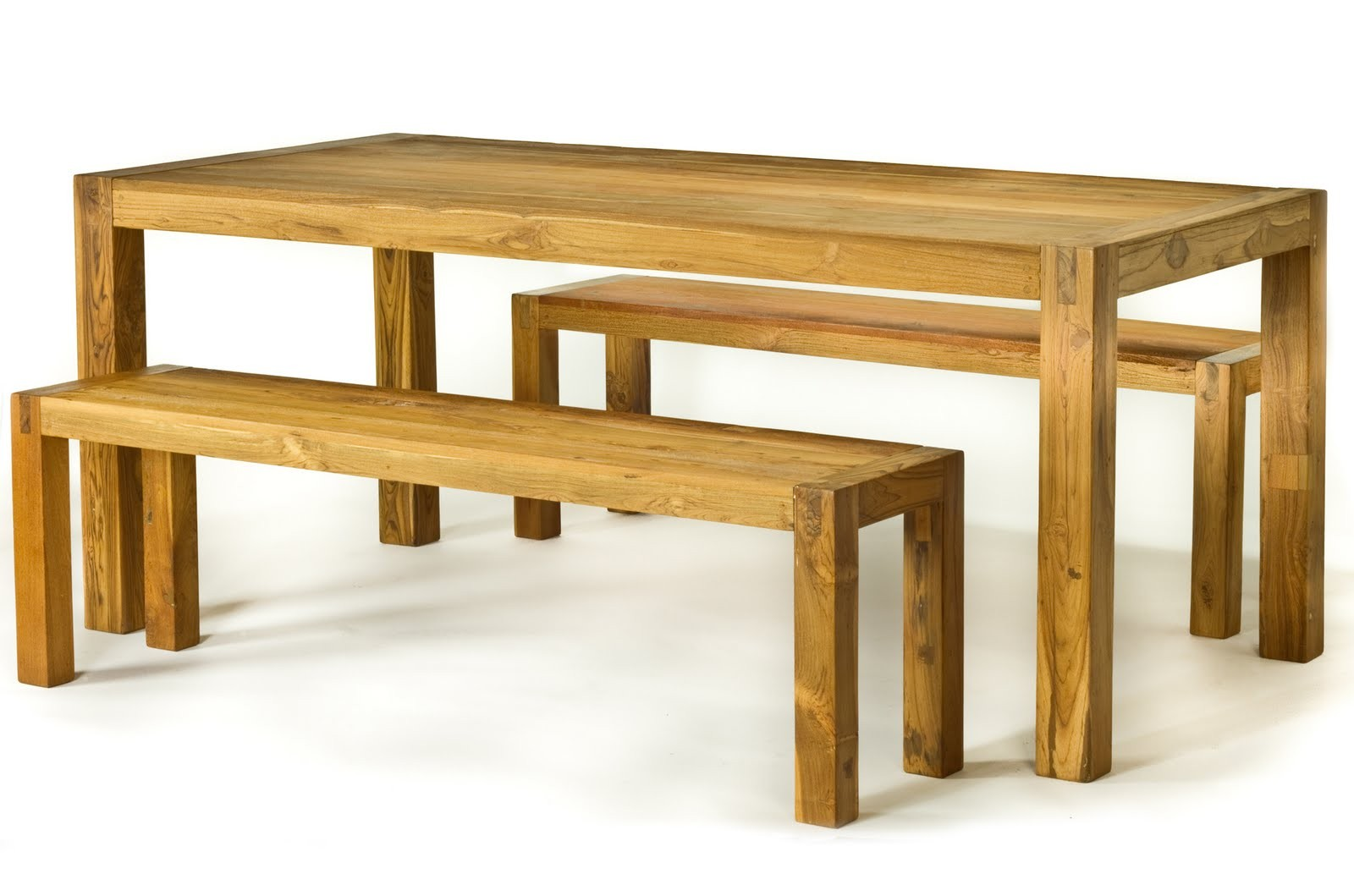 Spark 39 S Reclaimed Teak Wood Dining Table And Benches Set Is The