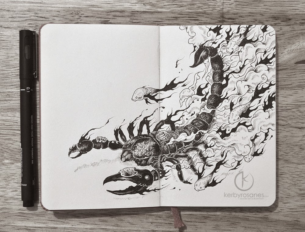 11-Scorpio-Kerby-Rosanes-Detailed-Moleskine-Doodles-Illustrations-and-Drawings-www-designstack-co