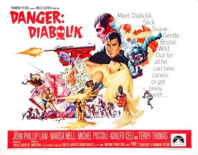 John Philip Law, Danger, Diabolik, Danger Diabolik, poster, teaser, trailer, Mario Bava, Dino de Laurentiis, Barbarella, Giussani