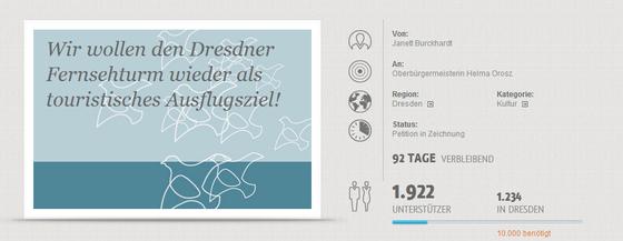 """Screenshot Online-Petition """"Fernsehturm Dresden"""", Stand 13.11.2013"""