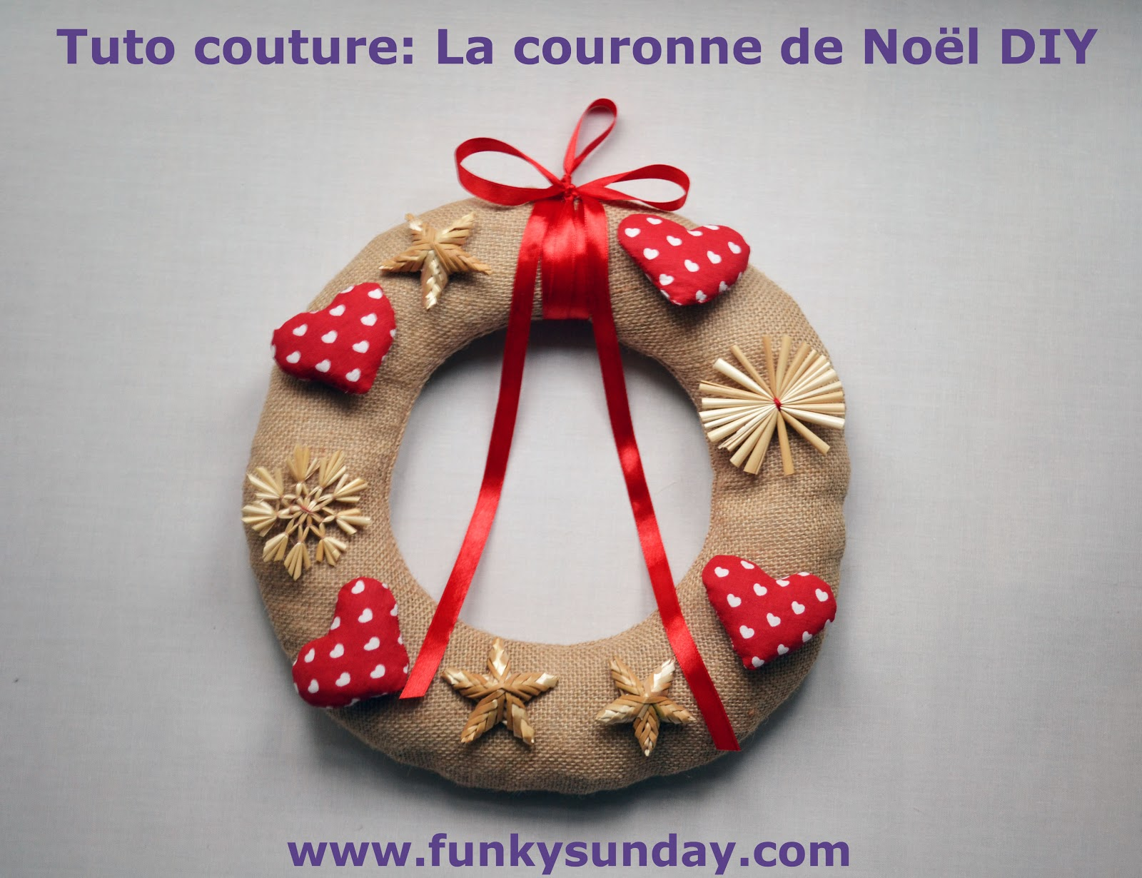 Funky sunday ma couronne de no l diy - Comment accrocher une couronne de noel a la porte ...
