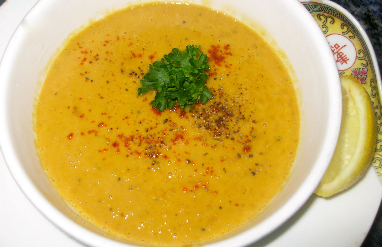 Lentil soup was blended in a blender ( photo )