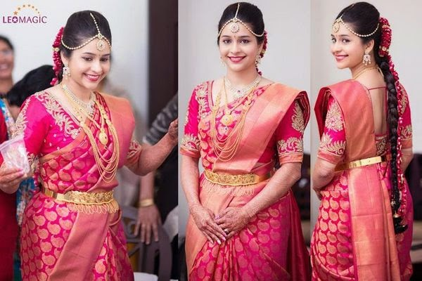 Bride in Her Pink Wedding Saree
