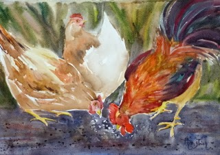 Lively and beautiful Farm Animal Watercolor Painting on paper  size 29.5 x 42 cm