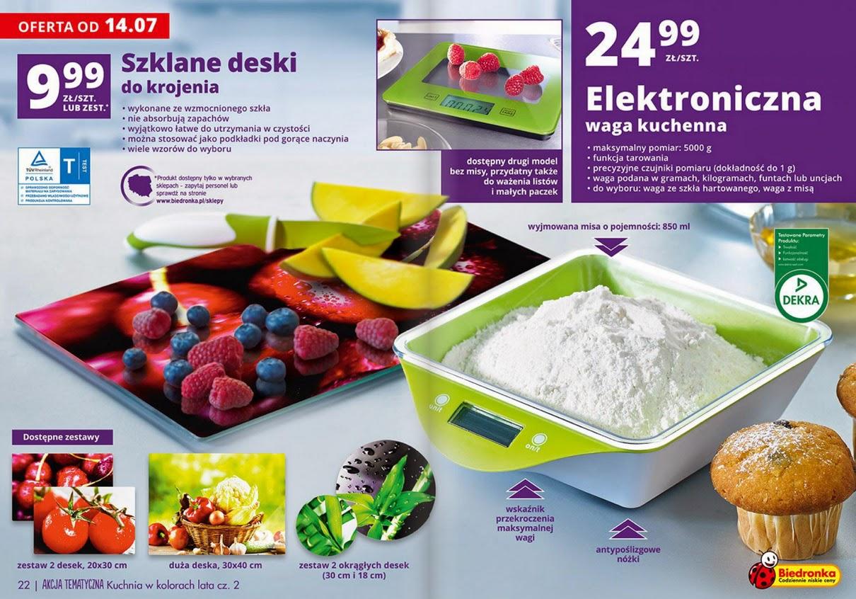 Elektroniczna waga kuchenna z misą lub ze szkła hartowanego z Biedronki 2014 ulotka