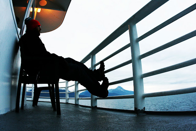The back deck of the Kennicott Ferry traveling from Haines to Juneau on the Alaska Maritime Highway.