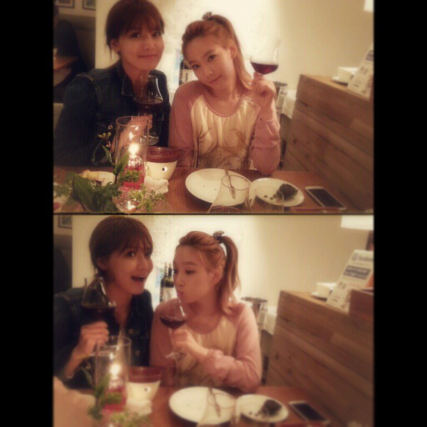 Taeyeon and Sooyoung enjoy wine on Instagram selca