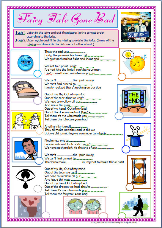 Comparing And Ordering Rational Numbers Worksheet Excel Around The World In English  Free Subject And Predicate Worksheets Excel with Math Adding Worksheets Heres A Worksheet Based On The Song Fairy Tale Gone Bad By The Rock Band  Sunrise Avenue The Students Listen To The Song And Put The Pictures In The  Right  Patterns And Functions Worksheets Word