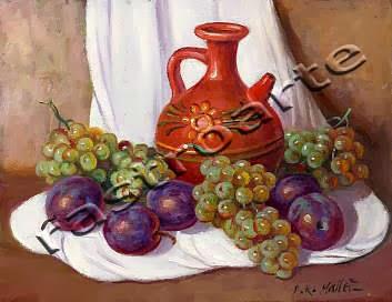 Bodegón con bucaro pintado, ciruelas y uvas