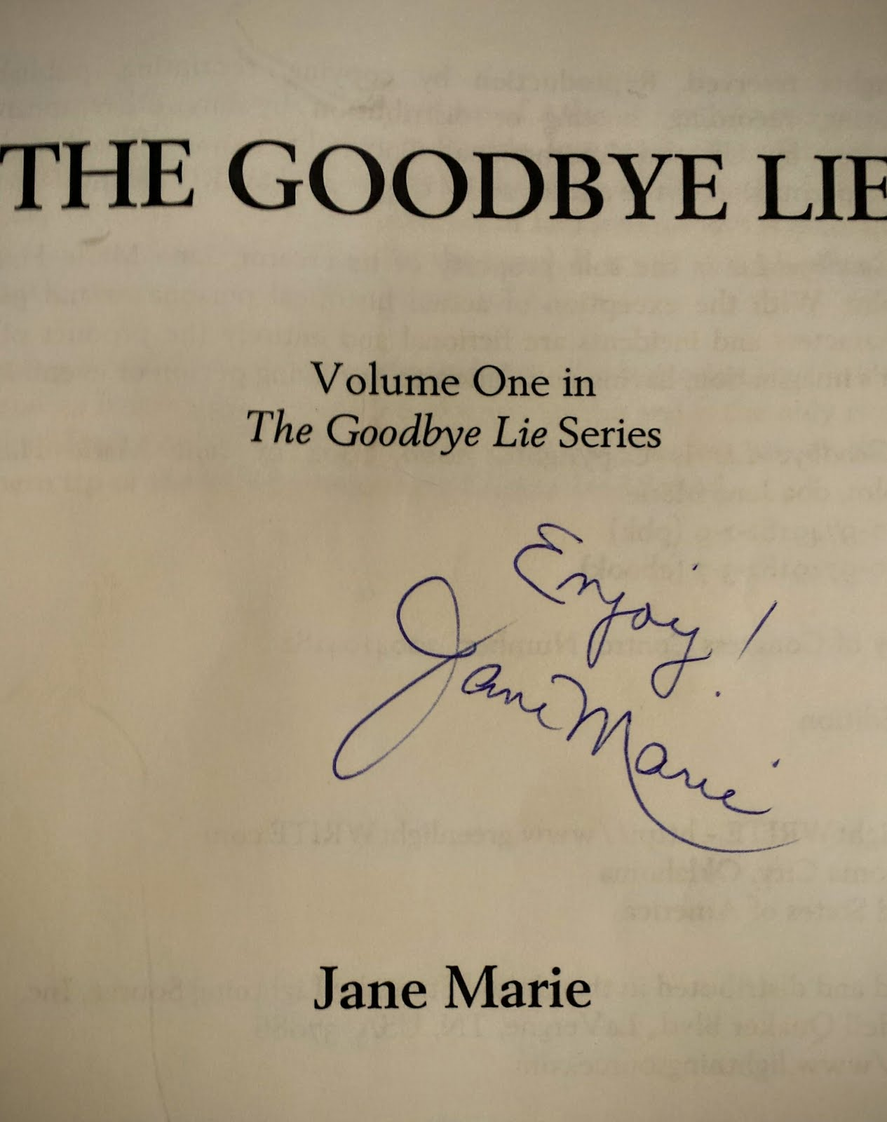 Click on the Title Page below to Read the Opening Pages of The Goodbye Lie