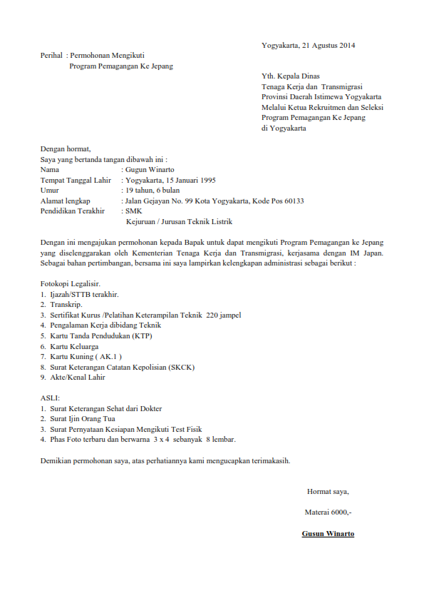 Contoh Surat Lamaran Kerja Untuk Alfamart Wisata Dan