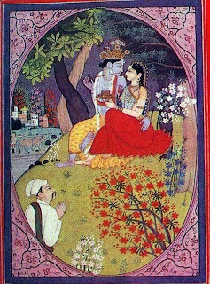 Keshavadasa paying homage to radha and krishna, kangra