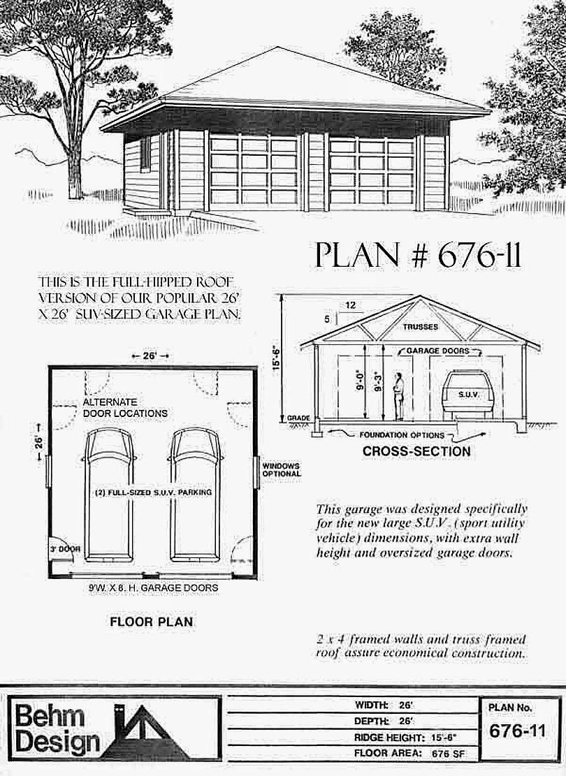 Garage plans blog behm design garage plan examples for Hip roof garage plans