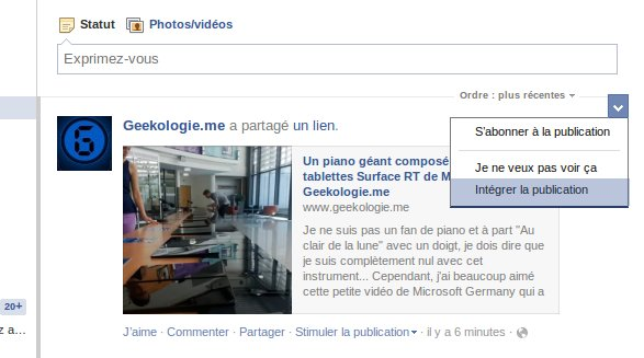 partager un post facebook sur votre blog ou site web (2013) Facebook-publication