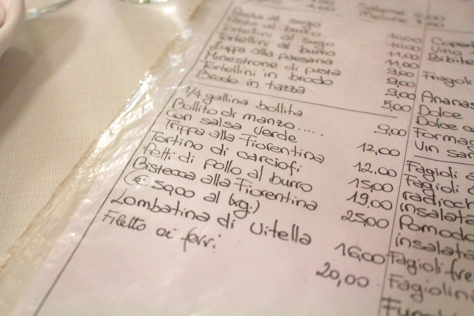 Trattoria Sostanza Firenze menu